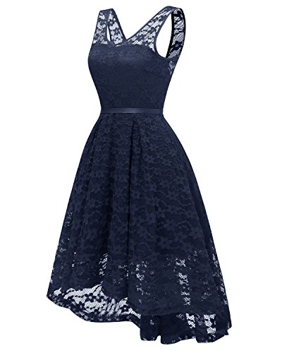 Swing Cocktail Dress Women Wedding Embroidered blue KAXIDY Sleeveless Retro Navy Party Lace 50's Vintage Floral Gown afxqwgB0