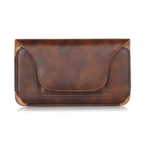 eBuymore Horizontal PU Leather Case Executive Holster Belt Pouch for Motorola Moto G4 Plus / Moto M / Moto Z Play / Force / Google Pixel XL / One Plus 3 / 3T / HTC 10 Evo / Blackberry DTEK60 (Brown) (G4 Case Htc Evo)