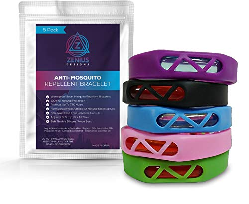 Zenius Designs 5 Pack Mosquito Repellent Bracelet Bands, Natural Insect Repellent Bracelets, Waterproof for Kids and Adults
