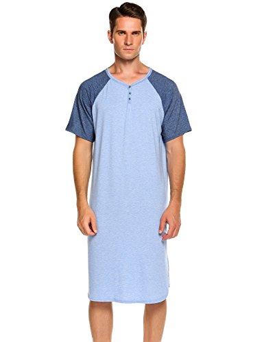 Ekouaer Men's Nightshirts Short Sleeve Nightwear Henley Sleepshirt Kaftan Pajama with Pocket (C-Blue, XXX-Large)
