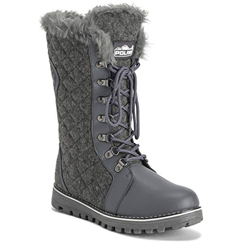 Polar Womens Quilted Comfy Winter Side Zip Rain Warm Snow Knee High Boot - Gray/Gray Textile - US8/EU39 - YC0501