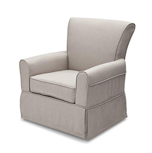 Delta Children Upholstered Glider Swivel Rocker Chair, Taupe