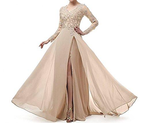 Spitze Langarm Abendkleider Marie Lang Beige Rock Chiffon Attraktive Brautmutterkleider Braut La Abiballkleider 1wfFqS1tW