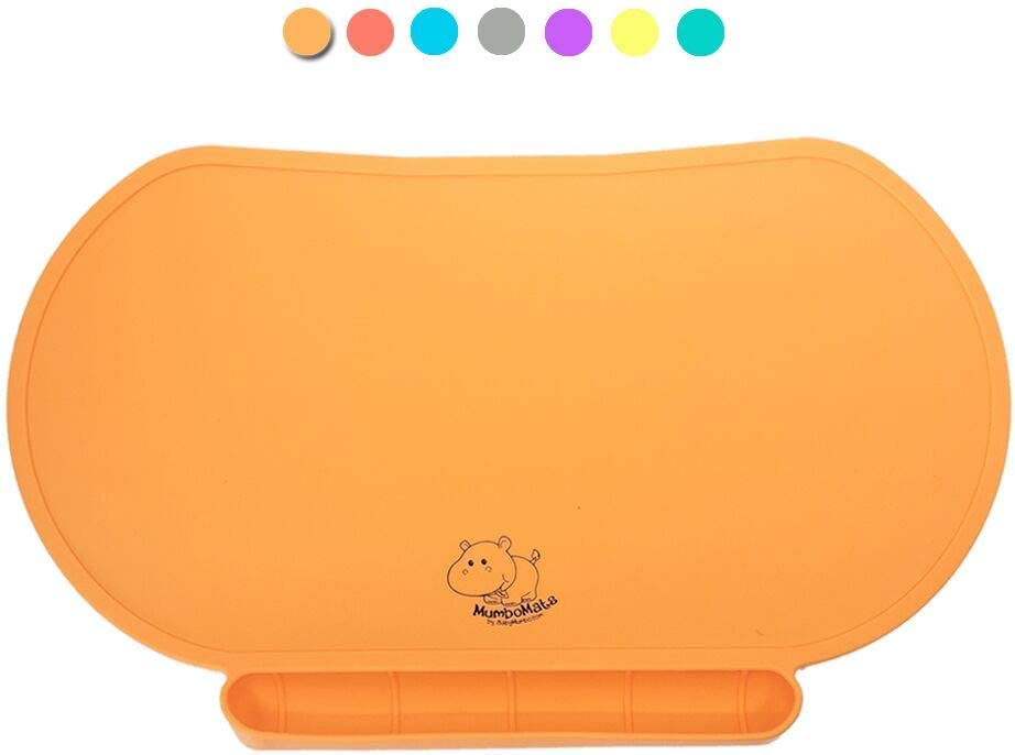 Food Catching Baby Placemat with Suction, Premium Quality, Food Grade Silicone for Max Hygiene, Unique Raised Edge, Spill Proof Accident Tray, Lightweight and Portable, 6 Colors (Adorable Orange)