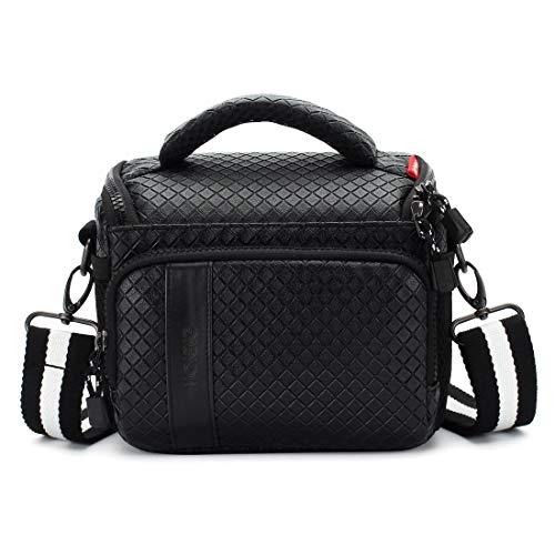 (MCHENG Waterproof PU Leather Camera Bag for Canon Nikon Sony Panasonic Olympus Fujifilm Digital Cameras, Black)