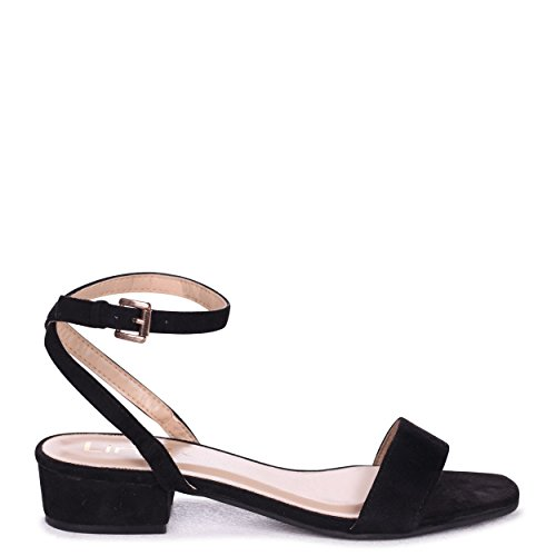 Linzi Paulina - Black Suede Heeled Sandal with Crossover Open Back Black YW3JWOx