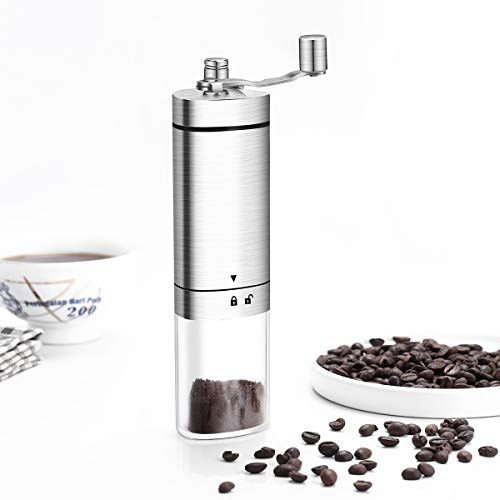 Manual Coffee Grinder,Conical Burr Mill With Adjustable Setting,Portable Hand Crank Coffee Grinder For Travel,Brushed…