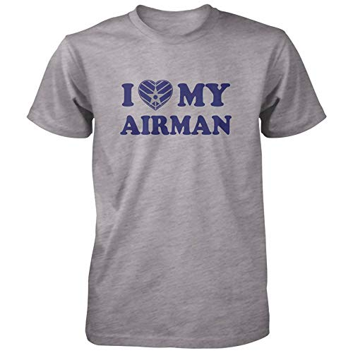 Vine Fresh Tees - I Love My Airman T-Shirt - Large, Athletic Gray (Airman Fitted T-shirt)