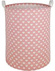 Large Waterproof Storage Bin Lightweight Organizer Basket for Laundry Hamper,Toy Bins,Gift Baskets,Dirty Clothes, College Dorms, Kids Bedroom,Bathroom(Pink Heart)