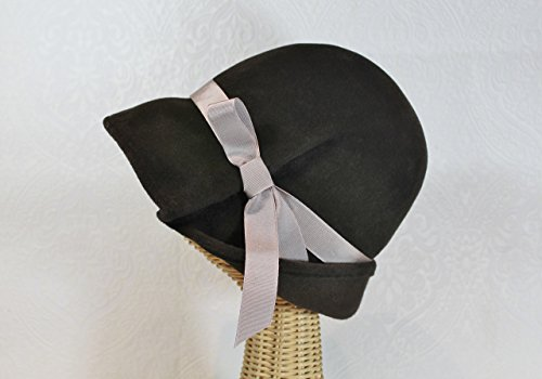 Lana Pleated Wide Brim Cloche Hat in Chocolate Brown Velour Felt by Bonnet