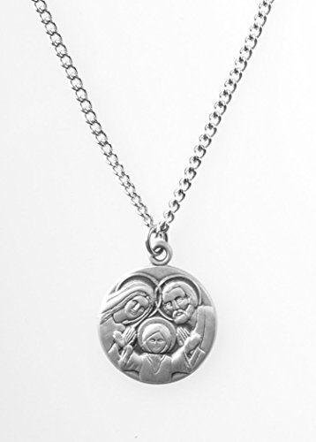 Pewter Holy Family Dime Size Medal Pendant, 3/4 Inch (Holy Pendant Family)