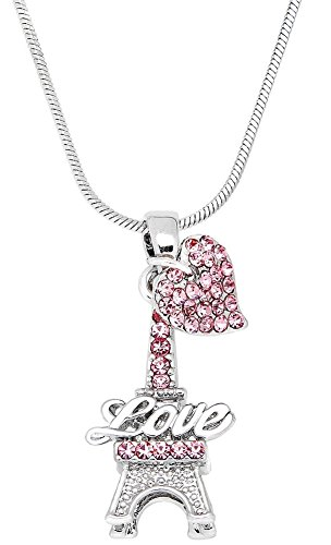 (Small Pink Crystal Eiffel Tower Paris France Lover Pendant Necklace with Heart Charm (Pink))
