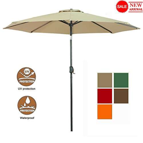 Umbrella Frames Patio (WARM HARBOR Aluminum Patio Umbrella with Push Button Tilt and Crank 180 GSM Fabric 8 Steel Ribs(9 Ft-Beige))