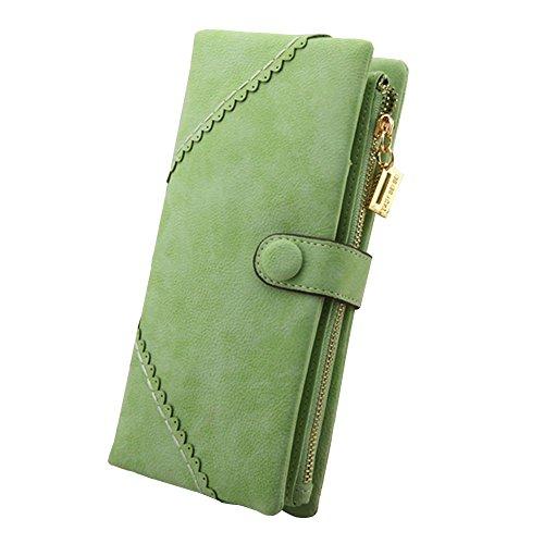 FUNOC Women Fashion Leather Wallet Button Clutch Purse Lady Long Handbag Bag (Green)