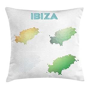 Ibiza Throw Pillow Cushion Cover, Polygonal Island Map ...