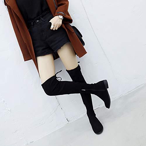 Shukun Stiefeletten Over The Knie Stiefel Frauen Hohe Stiefel Herbst Und Winter Flache Stiefel Lange Stiefel Elastische Dünne Stiefel Dicke Frauen Stiefel