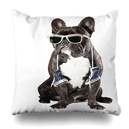 Ahawoso Throw Pillow Cover Square 16x16 One Black French Bulldog Sunglasses Sneakers On Wrinkly Neck Glasses Attentive Breed Brindle Canine Design Zippered Cushion Case Home Decor - Brindle Footwear