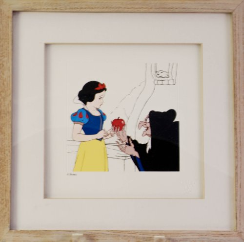 Disney - Snow White & the Seven Dwarfs - Engraved Etching - Snow White & The Witch - 11x11 In - Matted & Framed - Embossed with Disney Logo - Very Rare - Limited Edition - New - Collectible