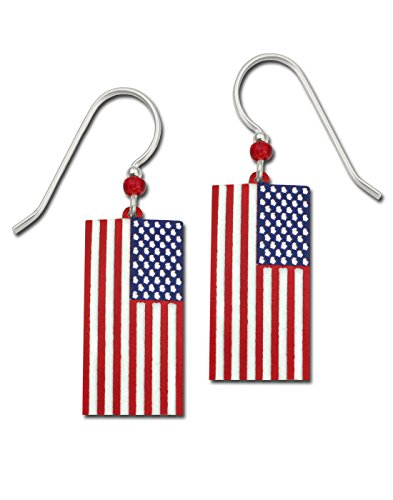 Sienna Sky Stars and Stripes Patriotic USA Flag Hand Painted Earrings with Gift Box Made in USA