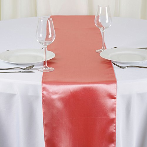 BalsaCircle 10 pcs 12 x 108 inch Rose Quartz Pink Satin Table Runners Wedding Table Top Party Supplies Reception Linens Decorations