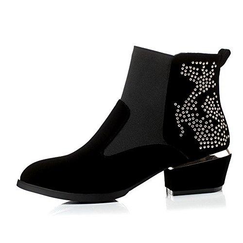 AllhqFashion Damen Hoher Absatz Weiches Material Niedrig-Spitze Gemischte Farbe Stiefel, Schwarz, 38