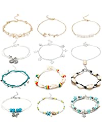 1235e249b 12PCS Anklets for Women Girls Blue Starfish Turtle Elephant Charm Ankle  Bracelets Multilayer Gold Silver Plated