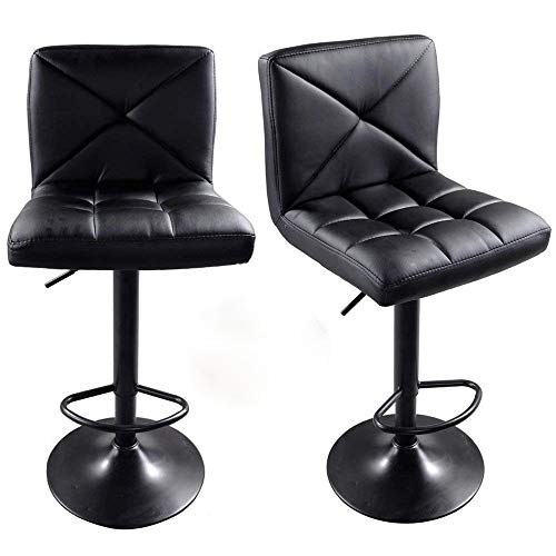FCH Set of 2 Square PU Leather Barstools Height Adjustable from 24
