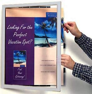 Poster Hinged Front-Door INDUSTRIAL SWING FRAME w/lock in anodized Silver Aluminum - 24x36
