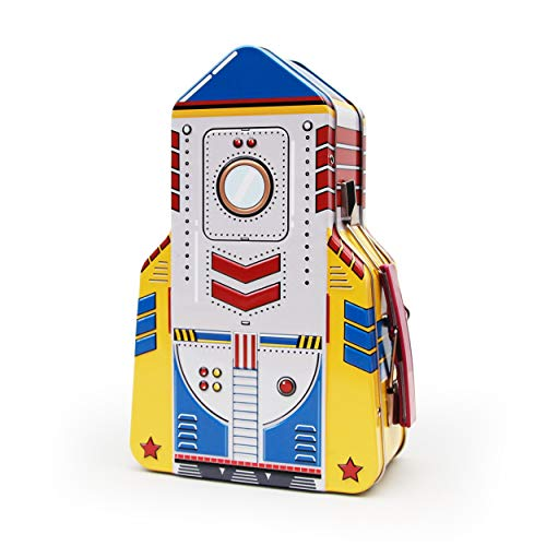 Outer Space Themed Snacks (SUCK UK SK LUNCHROCKET1 Rocket Kids Toy Storage Containers | Space Lunch Boxes for Kids & Adults | Tin, One Size,)