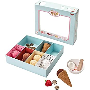 "HABA Biofino Soft Ice Cream Cones ""Venezia""- 2 Plush Waffle Cones and 2 Reversable Ice Cream Scoops"
