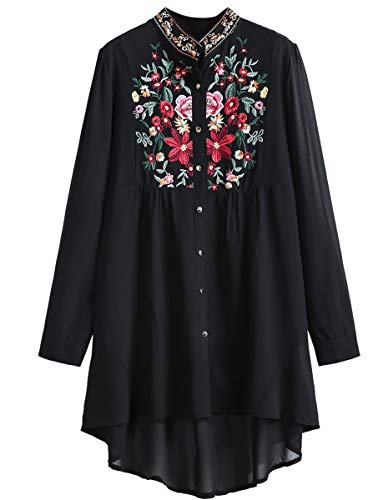 (Romwe Women's Chiffon Embroidered Floral Button Down Long Sleeve Loose Blouse Top Black(One)