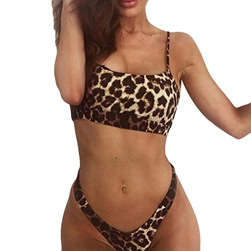 QueenMM Women's 2 Pieces Leopard Bikini Swimsuits with Thong Scoop Neck High Waist Bathing Suit High Cut - Bodystocking Scoop Crotch Neck Open