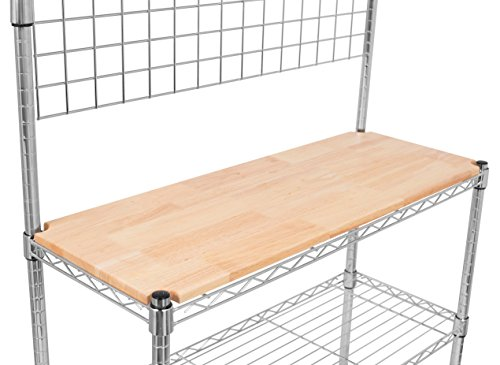 Internet's Best 3-Tier Baker's Rack | Chrome | Kitchen Storage Shelving | Adjustable Wire Stand Removable Cutting Board 6 Hanging Hooks - smallkitchenideas.us