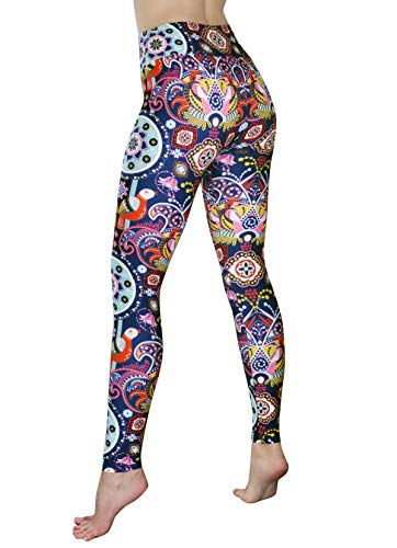 Comfy Yoga Pants - High Waisted Yoga Leggings with Bohemian Print - Extra Soft - Dry Fit (Midnight Lotus, One Size)