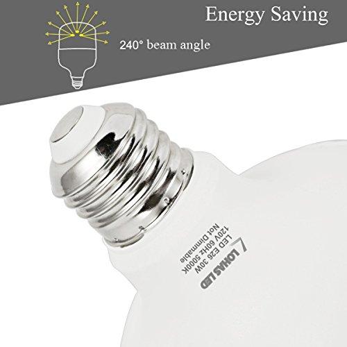 LOHAS 250W-300W Light Bulb Equivalent, 30W LED Bulb Daylight White 5000K with Free E26 to E39 Converter, 3400 Lumens, High Watt Commercial Retrofit LED Bulbs for Garage Warehouse Workshop(2 Pack) by LOHAS (Image #8)