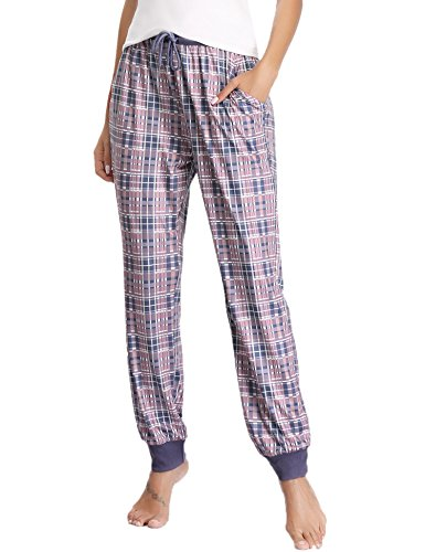 (Hawiton Women's Stretch Milk Silk Sleep Lounge Bottoms Plaid Ribbed Drawstring PJ Pants Purple)