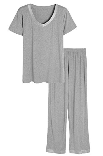 Latuza Women's Bamboo V-Neck Short Sleeves Pajama Set L Light Gray (Pajamas Sets Women)