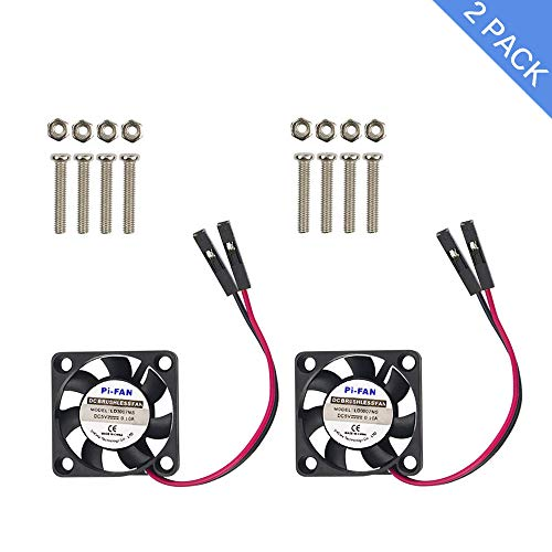 """Raspberry Pi 4 Fan, iUniker Raspberry Pi Cooling Fan 30x30x7mm Brushless CPU Cooling Fan for Raspberry Pi 4 Model B, 3 B+, Pi 3, Pi 2, Pi 1 B+, RetroFlag NESPI Case(2-Pack)"""