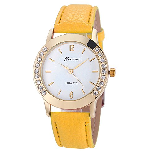 Geneva Fashion Women Wrist Watch,Outsta Diamond Analog Leather Quartz Watches Bracelet for Women Great Gift (Yellow)