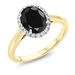 10K Two-Tone Gold Oval Black Sapphire and Diamond Engagement Ring 2.54 Ct