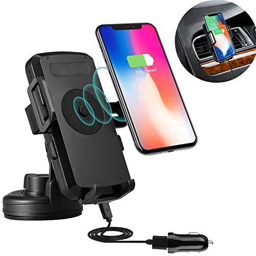 Wireless Car Charger, PTUNA Wireless Charging Car Mount Air Vent Car Mount Qi Wireless Charging Compatible with iPhone XS Max X 8 8 Plus Samsung Galaxy S8 S8 Plus Note 9 8 S6 S7 & Qi Enabled Devices