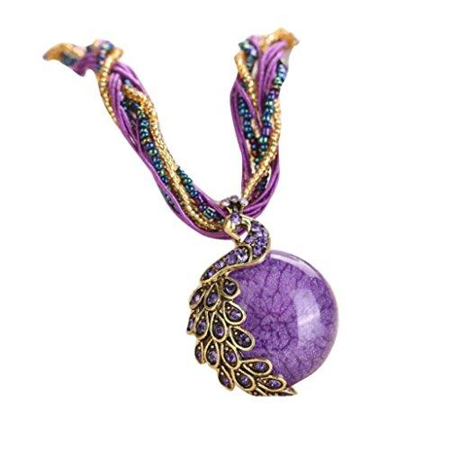 - Napoo 1PC Womens Bohemian Rhinestone Peacock Gem Pendant Statement Necklace with Bandage (Purple)