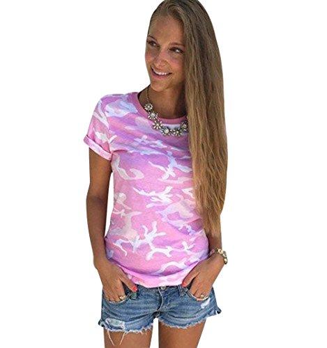 ISSHE T Shirt Damen Rundhals T Shirts Kurzarm Oversize Frauen Sommer  Lockere T-Shirt Oberteil e9486eb5cf