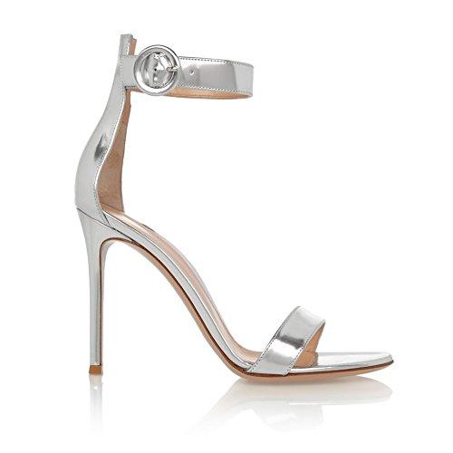 Aiguille Talon de Argent Ouvert Chaussures Bout Femme 10CM à Bride Sandales EDEFS Cheville wFPOxP