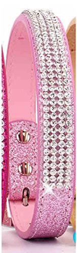 Pets-House-Dog-Collars-for-Large-Dogs-Female-Bling-Personalized-Girl-Pitbull-Leather-Pink-Spikes-Sparkle-Training-Thick-Shock