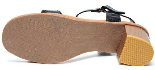 Odmea Women Summer Leather PU Open-Toe Chunky Heel Sandals Black Xn1tmJc