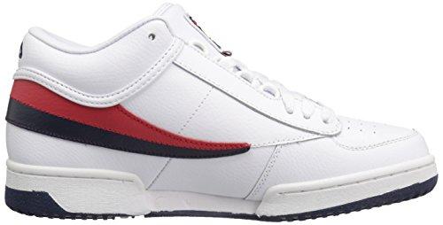 Fila Hombres T-1 Mid Fashion Sneaker Blanco / Fila Navy / Fila Red