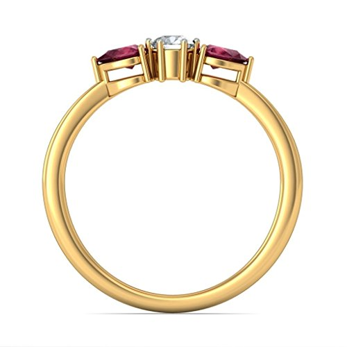 Or jaune 18K, 0,15carat Diamant Blanc (IJ | SI) Rubis et diamant Bague