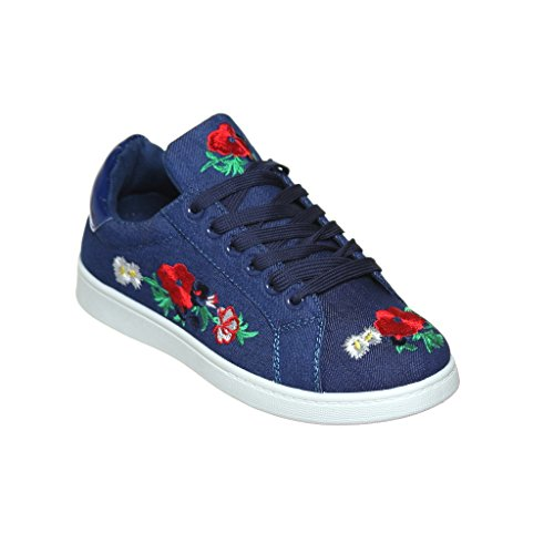 Women's Flower Embroidery Lace Up Casual fashion Sneaker (7, Blue Jean)
