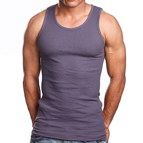 (Woodland Supply Co. Men's 3 Pack 100% Cotton Ribbed A-Shirt Undershirt (Medium, Dark Grey))